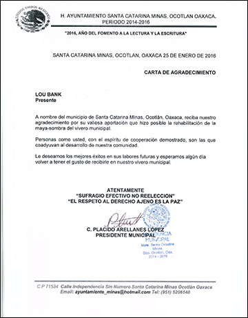 Letter of Thanks from the Government of Santa Catarina Minas